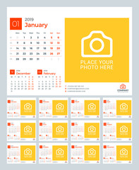 Calendar for 2019 year. Vector design print template with place for photo and company logo. Week starts on Monday. 12 pages
