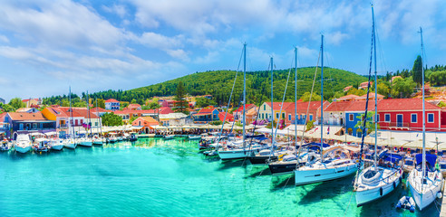 Fiskardo village and harbor on Kefalonia Ionian island, Greece. Wall mural