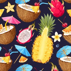Summer seamless cocktail background