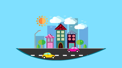 A city, a small city hanging in the air in a flat style with houses with a sloping tile roof, cars, trees, birds, clouds, sun, road, lantern in the afternoon on a blue background. Vector illustration
