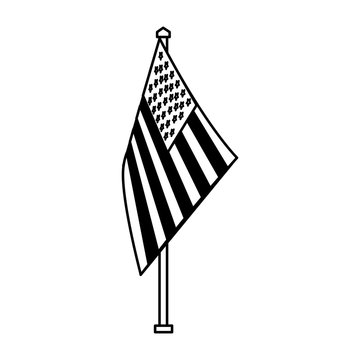 american flag on stand national symbol vector illustration black and white