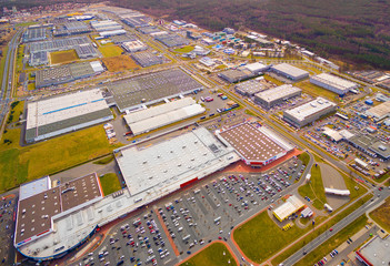 Aerial view to industrial zone and technology park on Borska pole of Pilsen city in Czech Republic, Europe. European industry from above.
