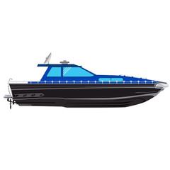 Motorboat, fishing motor boat vector illustration