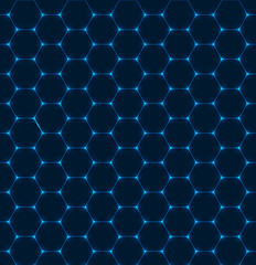 Background with blue hexagon texture with glow effect. Vector