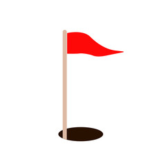 golf red flag and hole. vector icon illustration