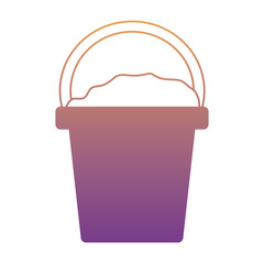 bucket with sand icon over white background, colorful design. vector illustration