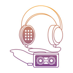 Headphones with cassette music player icon over white background, colorful design. vector illustration