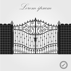 Forged gate. Architecture detail. Decorative wrought fences and gates vector set. Black gate fence frame. Vector EPS10.