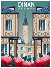 Retro poster about traveling to Dinan, France. Handmade drawing vector illustration. Vintage cartoon style. All Buildings - customizable different objects.