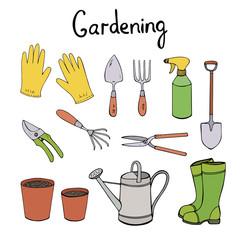 Gardening vector clip art. Hand drawn illustration set