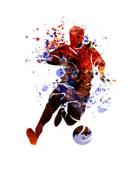 Watercolor silhouette soccer. Vector illustration