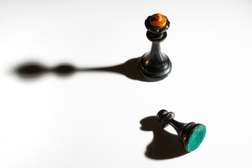Black pawn in front of the king on a white background