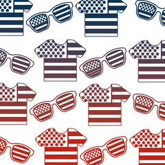 shirts of united states of america flag with glasses vector illustration design