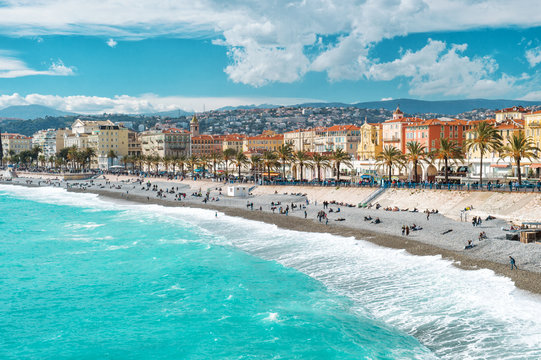 Nice city Promenade Anglais French riviera Mediterranean sea