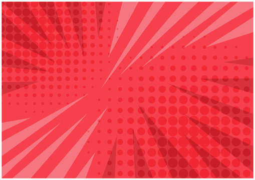 Abstract bright red striped retro comic background with halftone corners and scratches. Cartoon pink wallpaper with stripes and half tone pattern for comics book, advertising design, poster, print