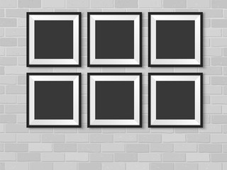 Frames photo gallery mock up brick wall black vector
