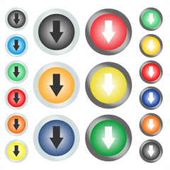 A web button or icon on which the arrow shows down. Vector graphic illustration.