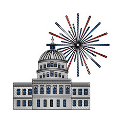 united states capitol building in washington fireworks vector illustration drawing