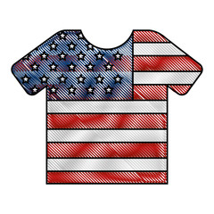 sport tshirt with american flag vector illustration drawing