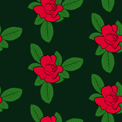 Vector illustration, bright seamless floral pattern, beautiful cartoon red rose flowers in sketch style with green leaves on dark green background