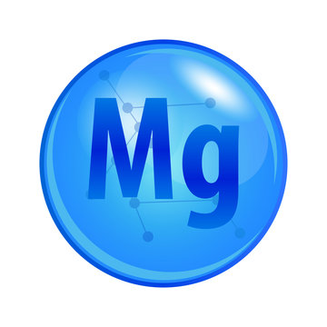 Mineral Magnesium capsule. Vector icon for health. Blue shining vitamin pill.