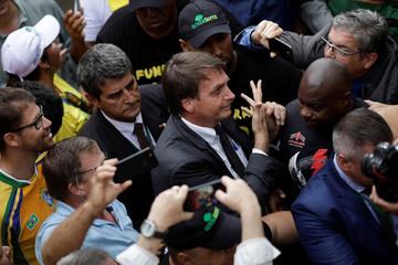 Federal deputy Jair Bolsonaro takes part in a protest against former Brazilian president Luiz Inacio Lula da Silva, in Brasilia