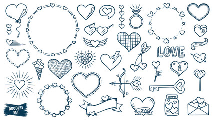 Love doodles set. Hearts sketches. Valentines day. Romantic collection. Hand drawn effect vector. Wedding and marriage doodles. Love theme simple sketches. Hearts scribbles.