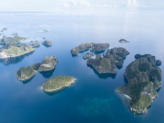 Aerial of Limestone Islands in Raja Ampat