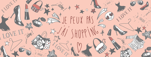 French Shopping background