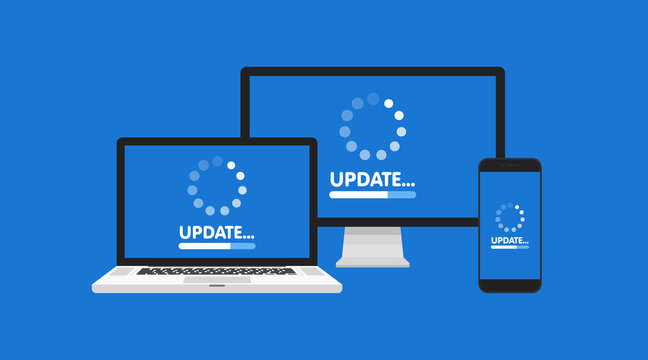 Computer, laptop and smartphone with update process screen. Install new software, operating system support. Vector illustration