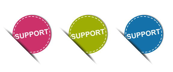 Support Web Button - Colorful Vector Icons - Isolated On White Background