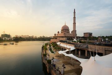 Putrajaya mosque between sunset in Kuala Lumpur, Malaysia. Pink mosque in Kuala Lumpur, Malaysia. Asia.