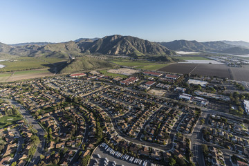 Aerial view of Ventura County homes, business and farms in Camarillo, California.
