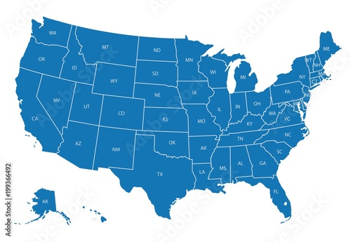 Map of USA with state abbreviations\
