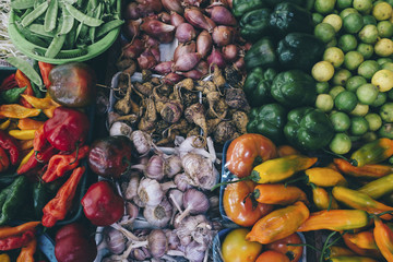 Overhead view of vegetables for sale at market stall