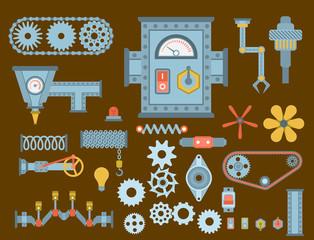 Machine parts different mechanism vector mechanical manufacturing work detail design gear equipment industry technical machining engine illustration.