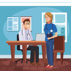 Medical teamwork at doctors office vector illustration graphic design