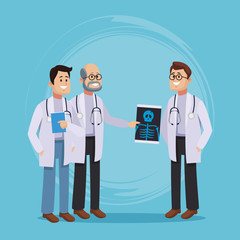 Medical teamwork cartoon vector illustration graphic design