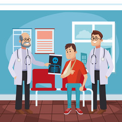 Doctors office cartoon with patient vector illustration graphic design