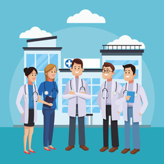 Medical teamwork outside hospital cartoon vector illustration graphic design