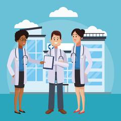 Medical teamwork outside hospital cartoon vector illustration graphic design
