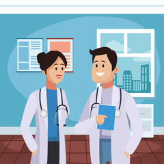 Medical teamwork at doctors office vector illustration graphic design