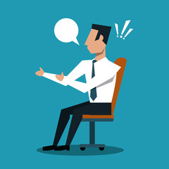 Businessman seated and taking decision vector illustration graphic design