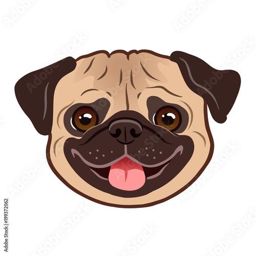 Quot pug dog cartoon illustration cute friendly fat chubby