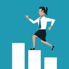 Business woman running over statistics bars vector illustration graphic design