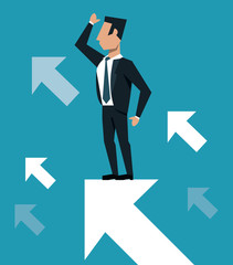 Businessman with arrow growing cartoon ob blue background vector illustration graphic design