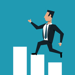 Businessman running over statistics bars cartoon vector illustration graphic design
