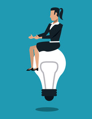 Business woman seated on bulb simbolizing ideas vector illustration graphic design