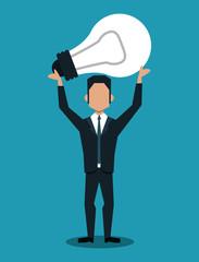 Businessman holding a bulb simbolizng idea vector illustration graphic design