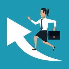 Business woman with briefcase on arrows growing vector illustration graphic design